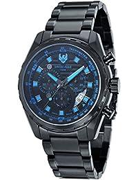 Swiss Eagle SE-9062-88 - Reloj de cuarzo para hombre, con esfera analógica, correa de acero inoxidable, color negro