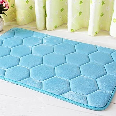 BEVERLY MEMORY Flannel Memory Foam Carpet Non-Slip Mat For Bathroom & Kitchen, Printed Water Absorption Bath Mat Absorbent Waterproof Home Decor (50cm×80cm (19.6