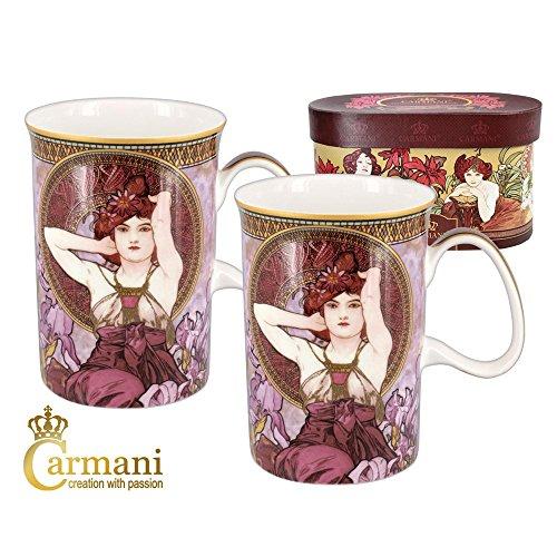 CARMANI - Set 2 Classic Becher von Alfons Mucha verziert mit 'Amethyst' 275ml