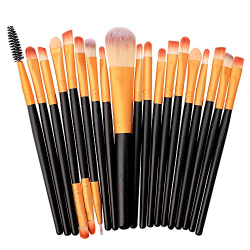 Cenlang 20Pcs/Set Makeup Brushes Set,Make Up Foundation Eyebrow Eyeliner Blush Cosmetic Concealer Brushes,Eyes Tool Kit Brush Foundation Powder Brush Eyebrow Brush Eye Brush Makeup Brushes,Multicolor (Finish Brush Powder)