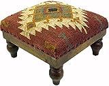 Guru-Shop Arabisch- Marokkanischer Kelim Boden Hocker, Orientalischer Sitz mit Holzgestell, Runde Beine - Rot/natur, Braun, 25x40x40 cm, Sitzmöbel