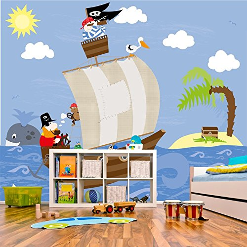 pirate-ship-treasure-island-jolly-roger-kid-wall-mural-cartoon-photo-wallpaper-available-in-8-sizes-
