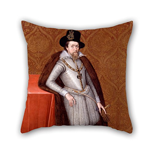 MeiGi 16 X 16 Inches / 40 By 40 Cm Oil Painting De Critz, John The Elder - James VI And I Christmas Pillow Cases Two Sides Is Fit For Couch Bf Teens Girls Club Dinning Room Couples