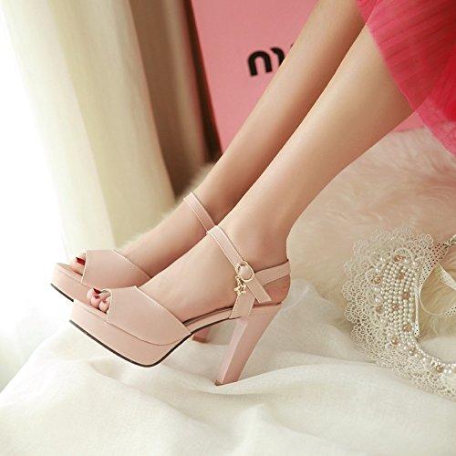 Sommer Damen Mode Sandalen komfortable High Heels, 39 Beige Pink