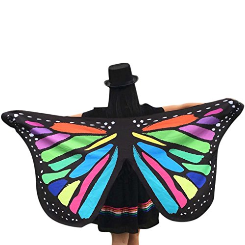DELLIN Weiches Gewebe Schmetterlingsflügel Fee Damen Nymphe Pixie Kostüm Zubehör (Mehrfarbig)