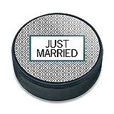Ice Hockey Puck Celebration Wedding Marriage - Just Married Wedding Bridal Shower