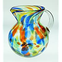 Mexican Glass Margarita or Juice Pitcher, Bola, Confetti Swirl by