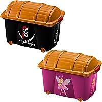Preisvergleich für Aufbewahrungsbox für Mädchen / Jungen ✔ 50L ✔ mit Deckel ✔ mit 4 Rollen ✔ Vielseitig einsetzbar - Spielzeugkiste Spielkiste Schatzkiste Spielbox Rollbox Container Box 【Farb- und Designwahl】
