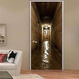 LNYF-OV Adesivi per porte 3D Tunnel tridimensionale Adesivi creativi Adesivi murali Porta autoadesiva in PVC
