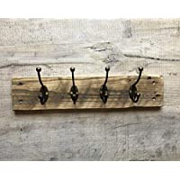 Rustic 4 hook wall mounted coat rack