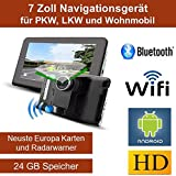 17,8cm 7 Zoll Android Navigationsgerät DVR,Navigation,WIFI,Neuste Europa Karten sowie Radarwarner,Tablet PC,Internet,Für Wohnmobil,LKW,Auto, 24GB Speicher, HD Display,AV-IN,Bluetooth,Kamera,Radarwarner