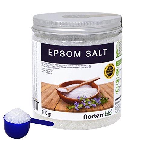 Sale di Epsom NortemBio 800g, Fonte Concentrata di Magnesio, Sale Naturale al 100%. Bagno e Cura Personale.