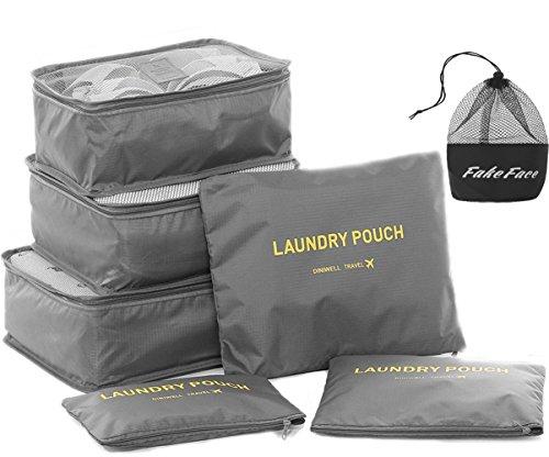 6 Set Pack Organizer Taschen für Koffer 6er Kleidertaschen für Kleidung Unterwäsche Socken 4 Farben Blau/Grau/Dunkelblau/Rosa