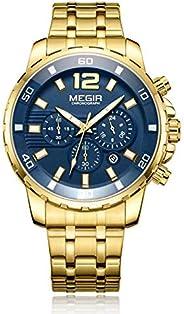 Megir Mens Quartz Watch, Chronograph Display and Stainless Steel Strap - 2068G