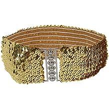 SODIAL(R) Cinturon Elastico Decoracion de Lentejuelas Brillantes - Color Dorado