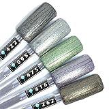 Color Gel 5er Set (je 5ml): Perfect Shimmer - Gel Silberglitter, Gel Grünglitter und Co.