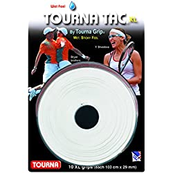 TOURNA Tac Overgrip XL Grip de Tenis (Pack de 10 Grips), Blanco