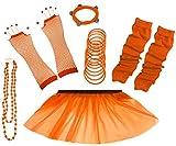 A-Express 80er Damen Neon Tütü Rock Ebene Beinstulpen Handschuhe Halskette Tüll Fluo Ballett Verkleidung Party Tutu Rock Kostüm Set (36-44, Orange)