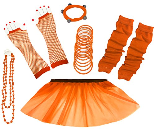 Rock Kostüm Set - A-Express 80er Damen Neon Tütü Rock Ebene Beinstulpen Handschuhe Halskette Tüll Fluo Ballett Verkleidung Party Tutu Rock Kostüm Set (36-44, Orange)