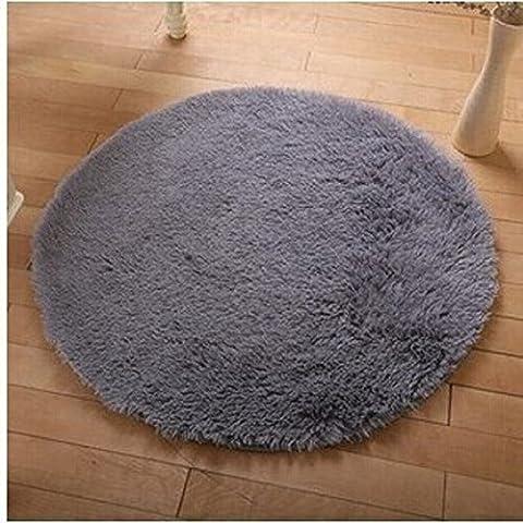 Hangnuo Tapis antidérapant rond, gris, Diameter: 47.2inch/120cm
