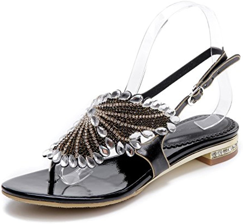 Mujer Señoras Chancletas Plano Verano Correa en T Diamante de imitación Sandalias Bohemia playa Zapatos , Negro...