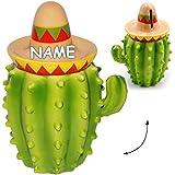 alles-meine.de GmbH große Spardose -  lustiger Kaktus mit Sombrero  - incl. Name - 18,5 cm - aus Porzellan / Keramik - stabile Sparbüchse / Sparschwein - für Kinder & Erwachsen..
