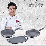 San Ignacio MasterPro Grand Formato-Grill 28 x 28 e piastra per arrostire 36 cm, grigio, induzione, alluminio forgiato