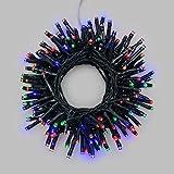 LuminalPark Lichterkette 7,2 m, 180 LEDs bunt, dimmbar, mit Fernbedienung, grünes Kabel, batteriebetrieben