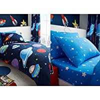 T&A Textiles and Hosiery Ltd Outer Space Duvet Set Single & Outer Space Stars Fitted Sheet/Pillowcase