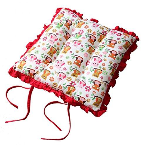 Homescapes Rüschenkissen zum Wenden 40 x 40 cm Stuhlkissen mit Bändern Eule Sitzkissen mit Rüschen (Band Rüsche)