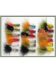 18humongous trucha moscas, tamaño 10, para pesca con mosca, color varios colores