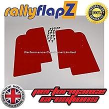rallyflapZ Guardabarros para Citroen Saxo (1996-2003) Cantidad 4 Rojo Guardafangos (4mm PVC)
