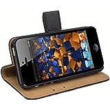 mumbi Ledertasche im Bookstyle f�r iPhone SE 5 5S Tasche schwarz