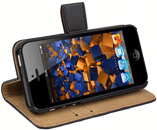 mumbi Ledertasche im Bookstyle für iPhone SE 5 5S Tasche schwarz - Iphone Schwarz Bumper Case 5