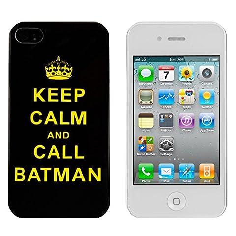 kwmobile Étui rigide Design Keep Calm Call Batman pour Apple iPhone 4 / 4S en jaune noir