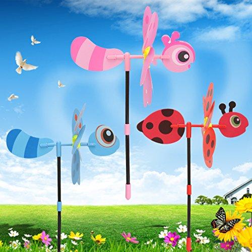 Hergon 3D Bee Windmill Whirligig Wind Spinner Home Yard Garden Decor Kids Children Toys
