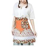Love Potato Blumen-Muster, Schürze mit Bistro Schürzen mit Taschen für Küche Restaurant Cafe zum Kochen Koch-, Orange