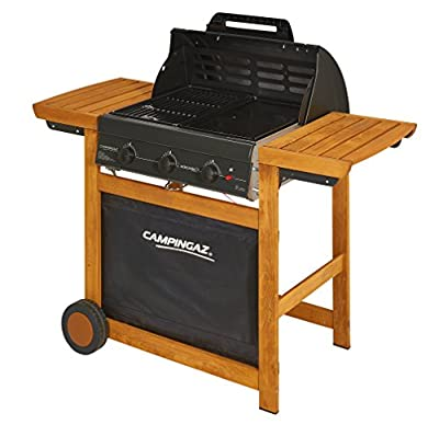 Campingaz Gasgrill Adelaide 3 Woody L, BBQ Grillwagen aus Holz mit 3 Gusseisen-Brennern, Deckel und Thermometer