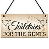 Shunry Toiletries for Gents Wandbehang Plakette Zeichen Holzschild Dekor Rustikale Dekorationen Bad Schlafzimmer Toilette Hotel Begrüßungsbar