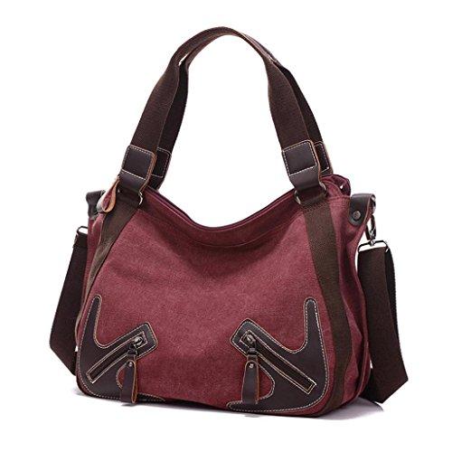 Transer  Canvas Handbags & Single Shoulder Bags Women Zipper Bag Girls Hand Bag, Damen Schultertasche coffee 32cm(L)*28(H)*15cm(W) wein