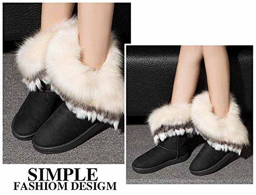 Donne Inverno Caldo Felpa Stivali Da Neve Artificiale Fox Fur Corto Stivali All'aperto Cotone Piatto Scarpe Black