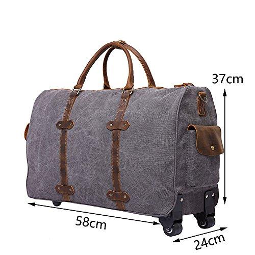 Neuleben 48 Liter Reisetasche mit Trolleyfunktion mit Rollen Rollenreisetasche aus Canvas Leder Weekender für Reise Urlaub (Grau) Grün