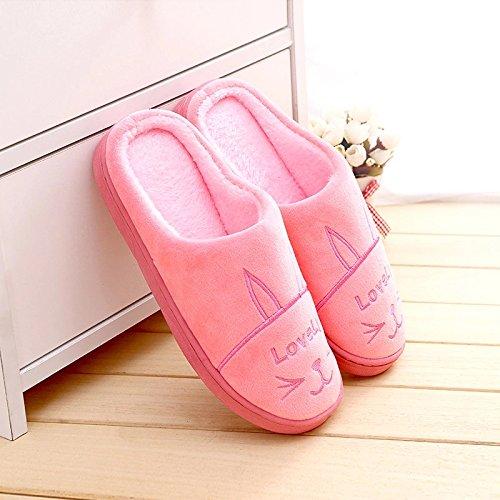 DogHaccd pantofole,Caldo inverno anti-slip di cotone femmina pantofole home home interni come mezzo di spessore e bel paio di pantofole di peluche Rosa4