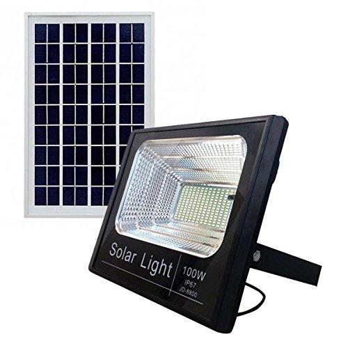 Bed Store® Faro faretto a led con pannello solare da esterno IP67 con telecomando con timer 10w 25w 40w 60w 100w (100)