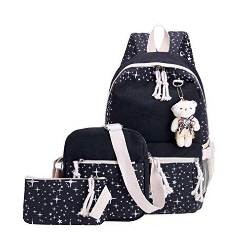 (Xinwcang 3 Teile Set Causal Rucksack Canvas Daypacks Backpack,Schule/Schulranzen + Schultertasche/Messenger Bag + Handtasche für Jungen Mädchen/Damen Schwarz)