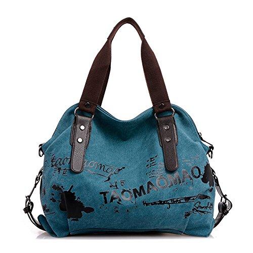 fanhappygo Damen Canvas Graffiti Umhängetasche Schultertasche Handtasche Messenger Tasche blau