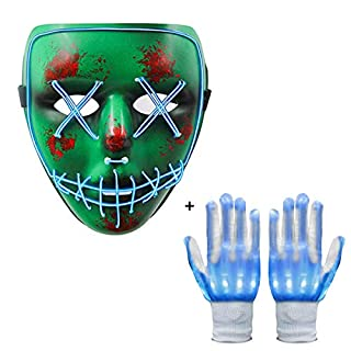 Neusky Leuchtmaske Halloween Maske Party Maske+ LED Blink Leucht Handschuhe für Hallowenn, Party (Set 1)