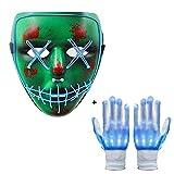 Neusky Leuchtmaske Halloween Maske Party Maske+ LED Blink Leucht Handschuhe für Hallowenn, Party (Set 1)