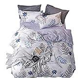 ED-Lumos 4 teilig Bettgarnitur Bettwäsche Set Bettbezug Betttuch Kopfkissenbezug Baumwolle Graue Blätter 180 cm x 220 cm