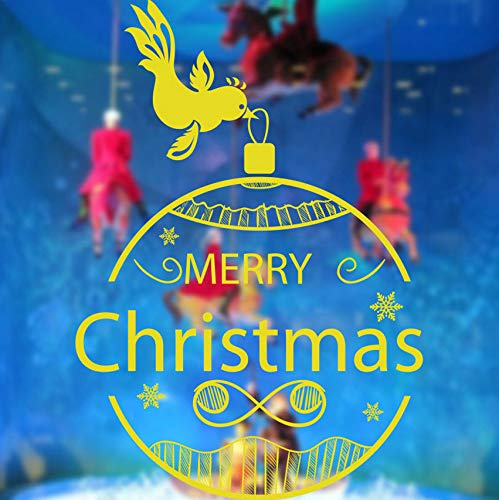 Wandaufkleber fenster dekoration shop home hintergrund ornamente abnehmbare vogel laterne frohe weihnachten 58x84 cm (Vogel-ornamente Weihnachten)